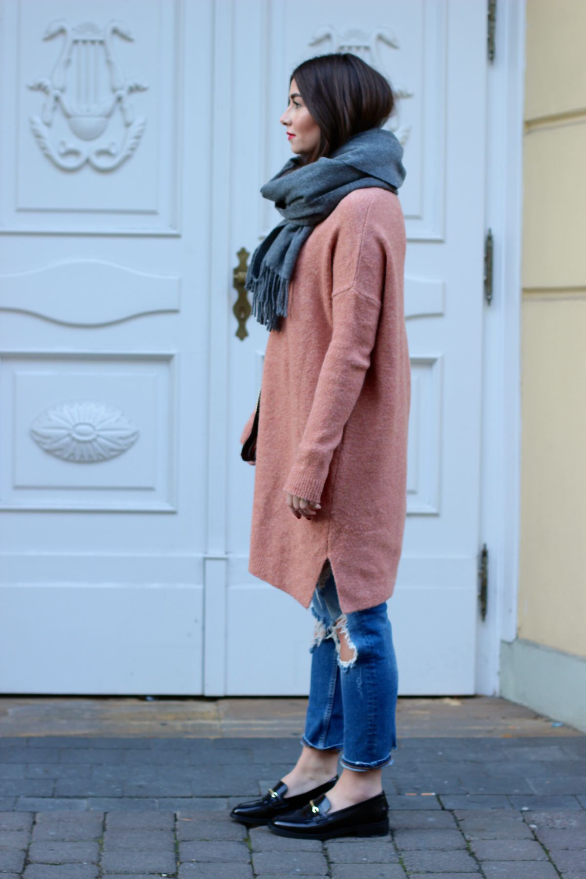apricot asos knit, loafers