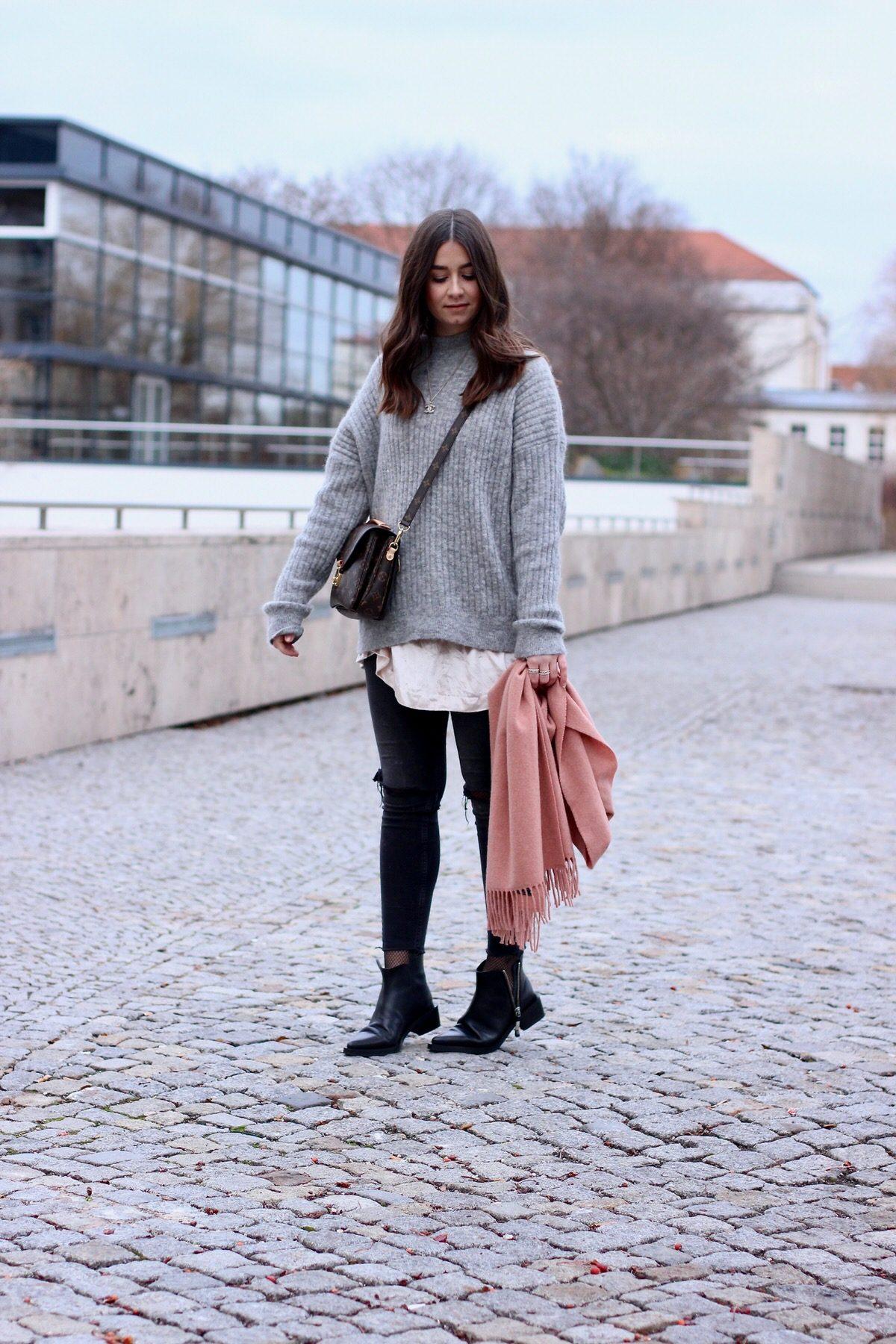 Louis Vuitton Pochette Métis, Acne Studios Schal, Zign Studio Boots, Zara, H&M, Edited