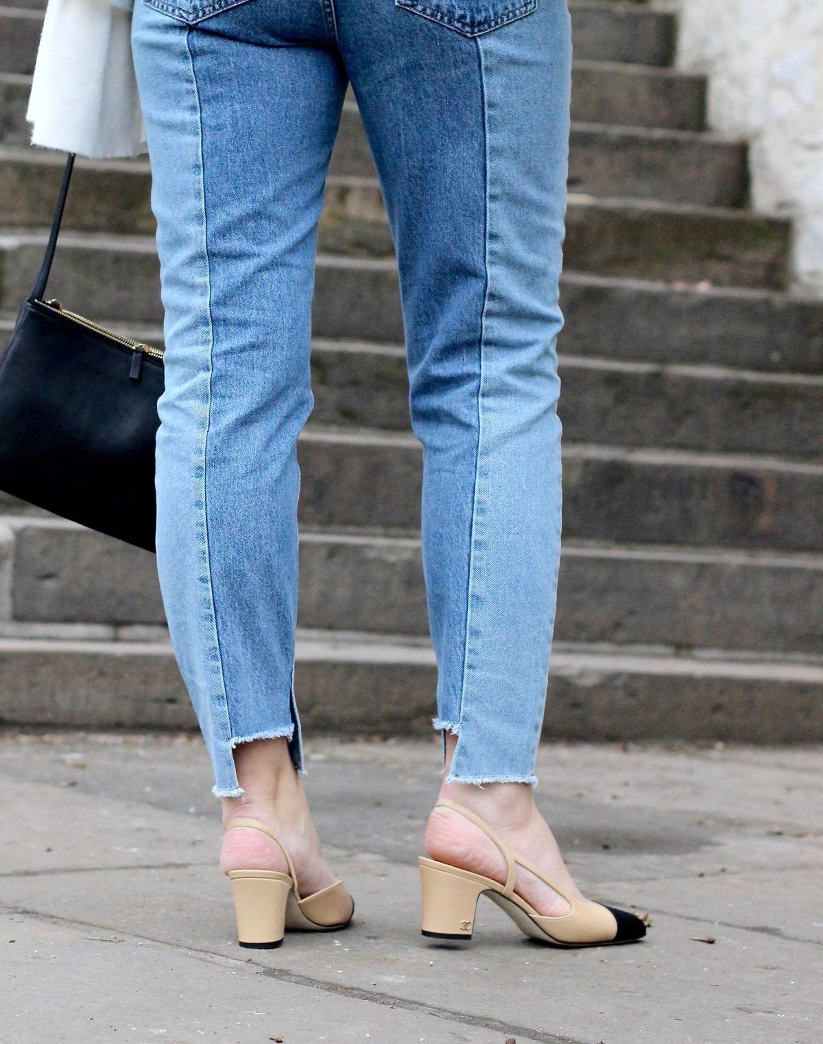 Chanel Slingback Pumps, Cropped Jeans, Rüschen Pullover, Celine Trio Bag, Streetstyle, Fashionblogger