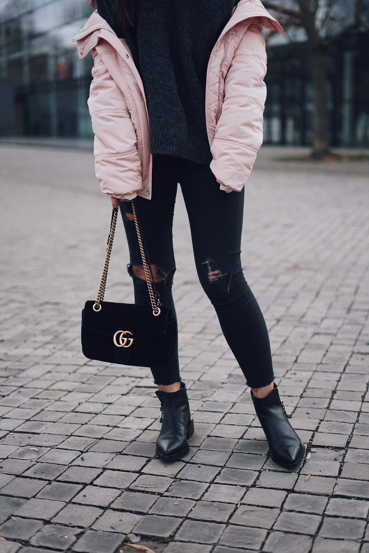 Zign Boots, Gucci Marmont Velvet, Samt, Puffer Jacket, Daunenjacke, Tom Tailor, H&M Mohair Pullover, Streetstyle, Winterlook, Outfit, Ray Ban Round Metal