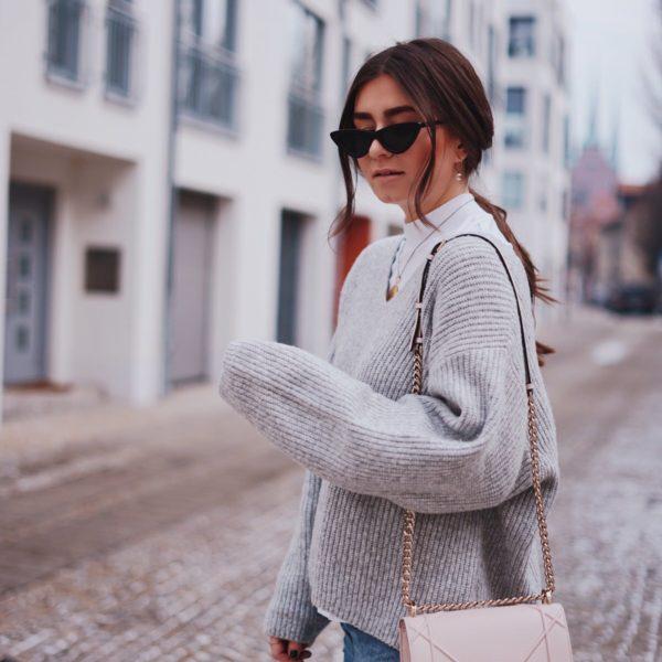 Zara, High Neck Shirt, H&M Knit Sweater, Strickpullover, & Cat-Eye-Sonnenbrille, Katzenaugen Sonnenbrille, Dior Tasche, Diorama, Alexander McQueen, Levi's 501 Jeans