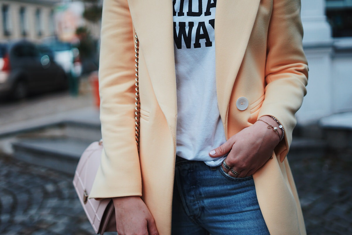 Outfit, Trendfarbe Sommer 2018, Trendfarbe Gelb, Blazer, Levi's Jeans, Gucci Princetown Slipper, Dior Tasche, Diorama, Streetstyle
