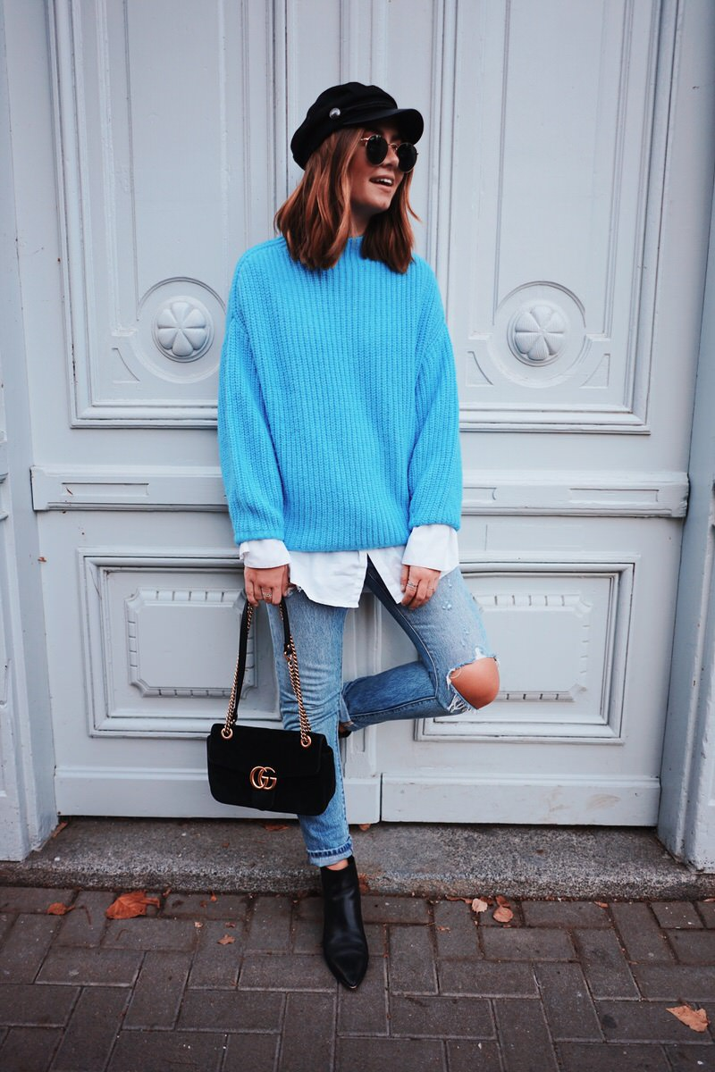 Mango Oversize Pullover, Acne Studios Boots, Levis Jeans, Gucci Marmont, Baker Boy Mütze, Streetstyle, Herbst Look