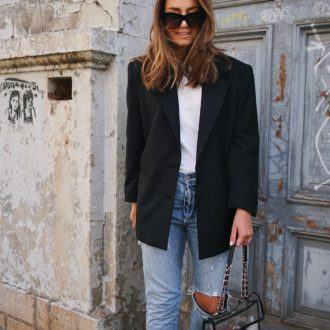 Streetstyle, Blogger, Fashion Blogger, Modeblogger, Casual look, Levis Jeans, Blazer, Oversized Blazer, Chanel Tasche, Chanel Slingbacks, Celine Cateye Sonnenbrille, Basics Shirt